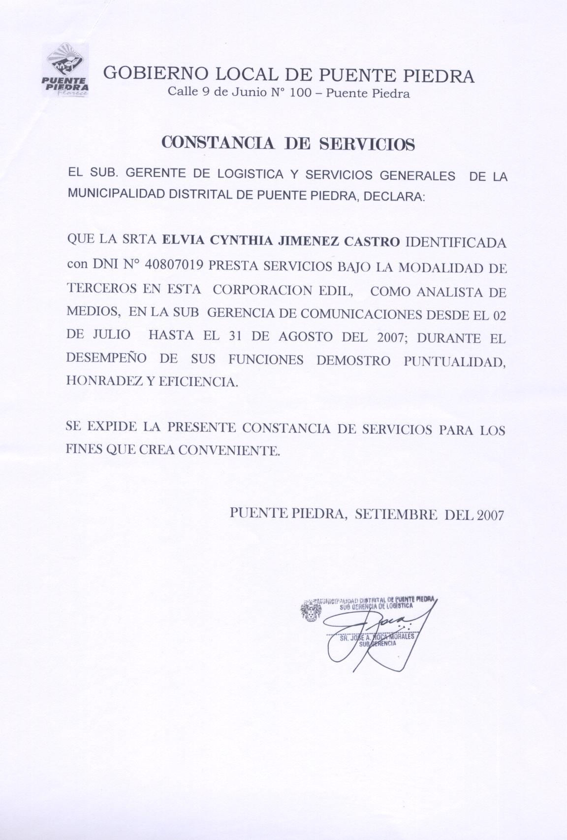 CV Constancia trabajo – municipalidades : Puente Piedra y Huachipa